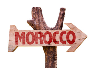 Morocco wooden sign isolated on white background