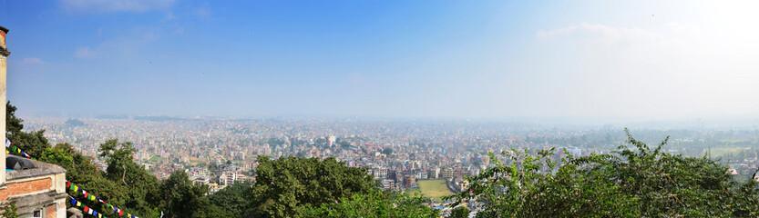 Panorama Cityscape of Kathmandu Nepal look  on Monkey Temple.