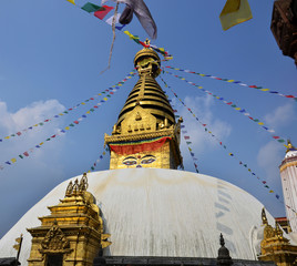 Swayambhunath or Monkey Temple with Buddha eyes at Nepal