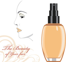 Cosmetic liquid foundation cream. The beauty of Your face