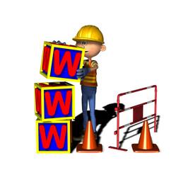 Bauarbeiter baut WWW - Homepage