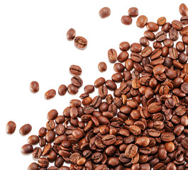 coffee grains isolated on the white background