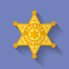 Icon of Police, Sheriff badge. Flat style