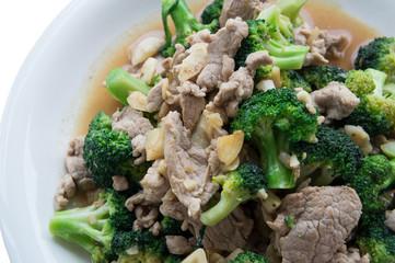 food stir fried vegetable Asian meat pork broccoli concept