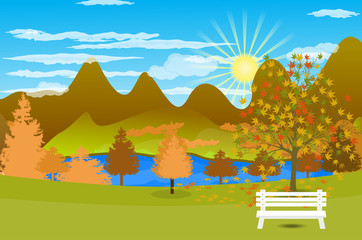 Autumn Landscape background with lake and mountain