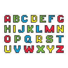 Pixel colorful alphabet