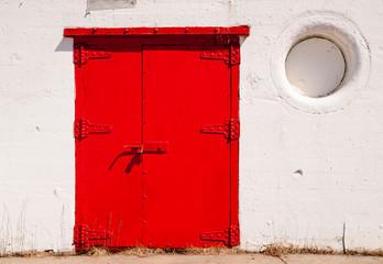 Big Red Metal Door Great Lakes Lighthouse