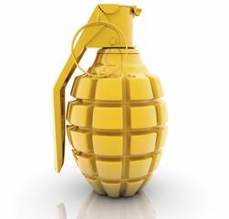 Golden Hand grenade on white background