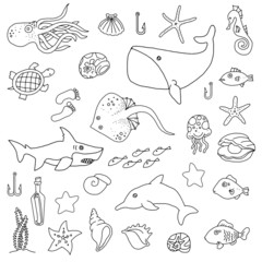 Sea animal hand drawn set