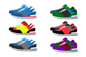 Bright colored sneakers in the vector