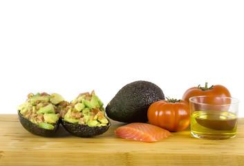 Stuffed avocados (salmon,avocado,oil,tomatoes)