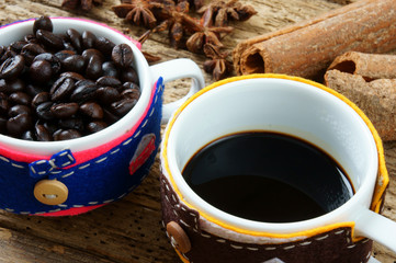 Coffee background, coffee cup, coffee bean