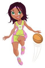 Vector Illustration of a Cartoon Girl Basketball Player