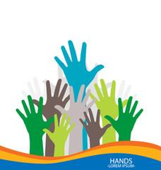 Photo of raised hands. Vector illustration.