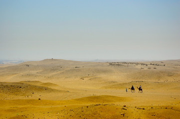 Bedouins with camels on Desert in Africa
