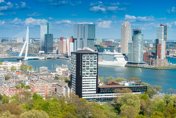 Zelfklevend Fotobehang Rotterdam Rotterdam, Netherlands. City skyline on a beautiful sunny day