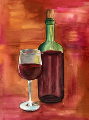 Watercolor glass and bottle of wine on colourful background