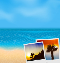 Set vacation beautiful beach photographies