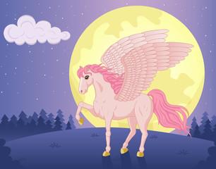 Vector illustration of beautiful walking Pegasus and big moon