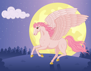 Vector illustration of beautiful running Pegasus and big moon