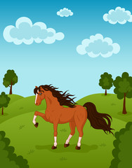 Vector illustration of wild walking horse