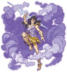 Female Thunder Goddess or Titan Mascot Vector Cartoon