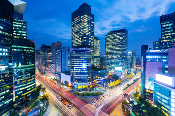 Aluminium Prints Seoul Seoul skyline at the gangnam district