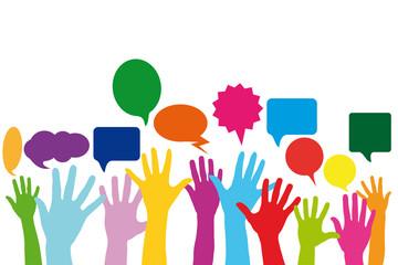Hände mit Sprechblase als Social Media Konzept