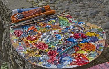 Palette mit Ölfarben