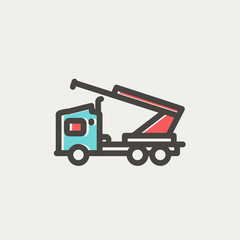 Towing truck thin line icon