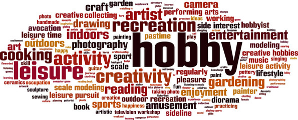 hobby word cloud concept vector illustration