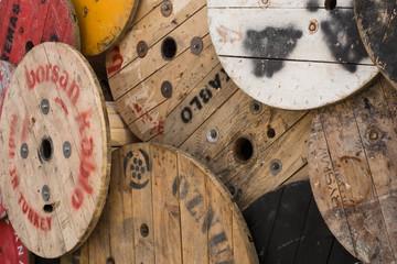 wooden spools, Istanbul, Turkey