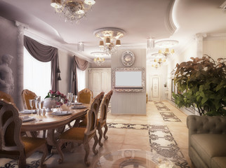 3D rendering of a drawing room, corridor and kitchen in classica