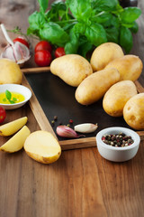 Raw fresh potatoes