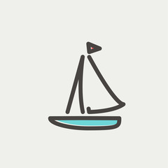 Sailboat thin line icon