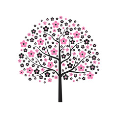 Decorative abstract vector tree in pink bloom