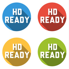 Collection of 4 isolated flat buttons (icons) with HD READY sign
