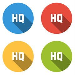 Collection of 4 isolated flat colorful buttons for HQ (HIGH QUAL