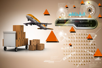 3d luggage's with flying plane