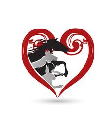 Cat dog horse floral heart logo vector design