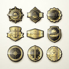 set of gorgeous golden marine emblems