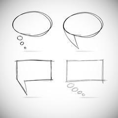 Talk bubbles sketch drawing.