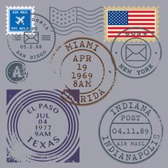 Retro postage stamps set, vector illustration