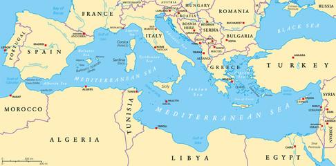 Mediterranean Sea Region Political Map Wall mural