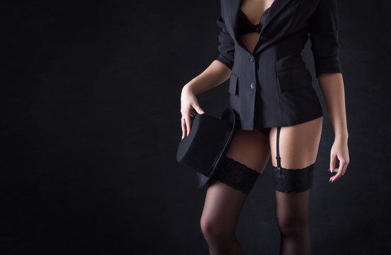 Sexy female body close-up clothes cabaret dancer.