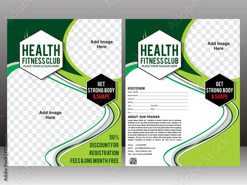 health fitness club flyer template stock image and royalty free