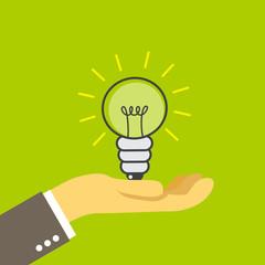 lightbulb on the palm, illustration