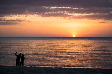 Couple shooting on the beach