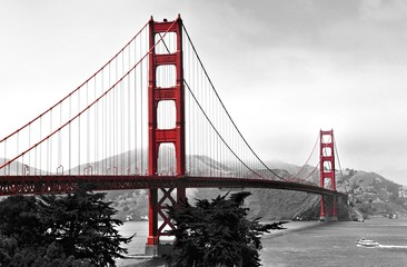 Golden Gate Bridge, red pop on a black and white background