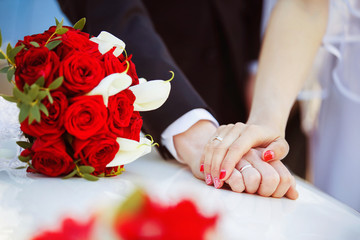 Picture of man and woman hands with wedding ring holding tender